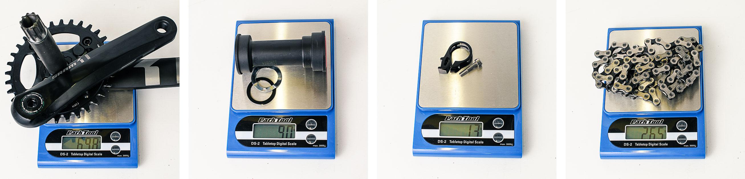 Sram X1, poids vérifiés du pédalier en 32 dents, du boîtier PressFit, du collier de shifter et de la chaîne PCX1