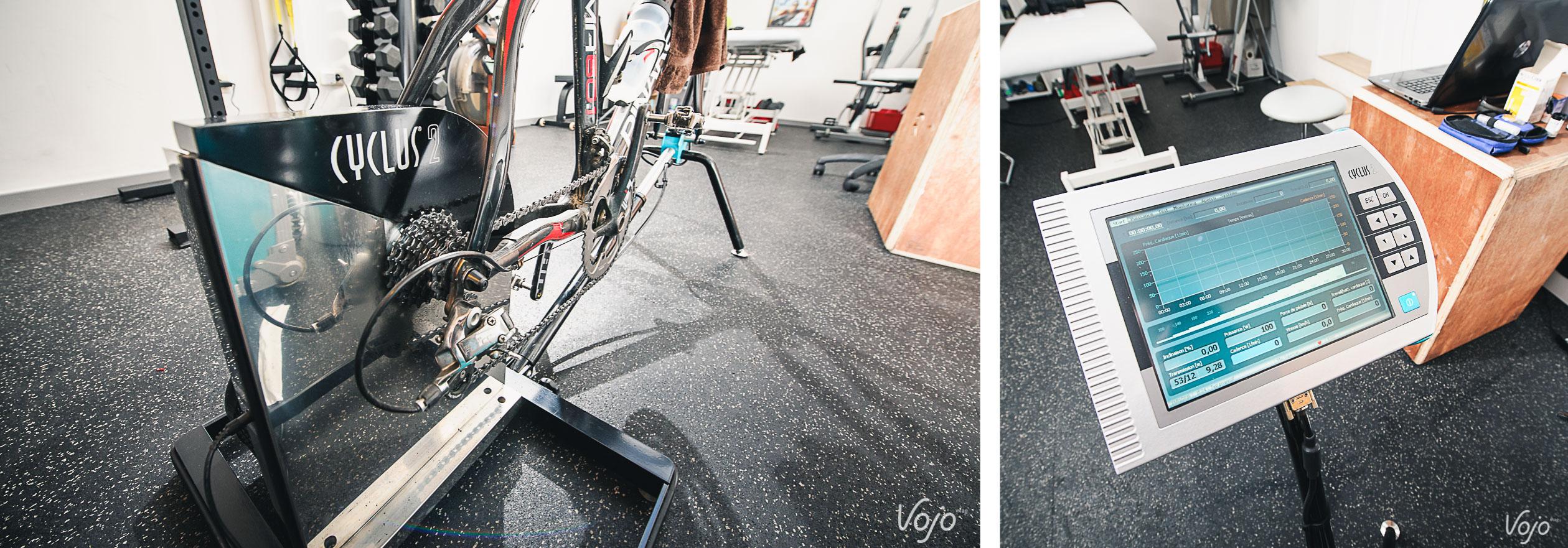 Pour la réalisation d'un test à l'effort, le vélo est monté sur un ergomètre. Ici, le Cyclus 2, véritable référence en la matière, réputé pour sa précision.