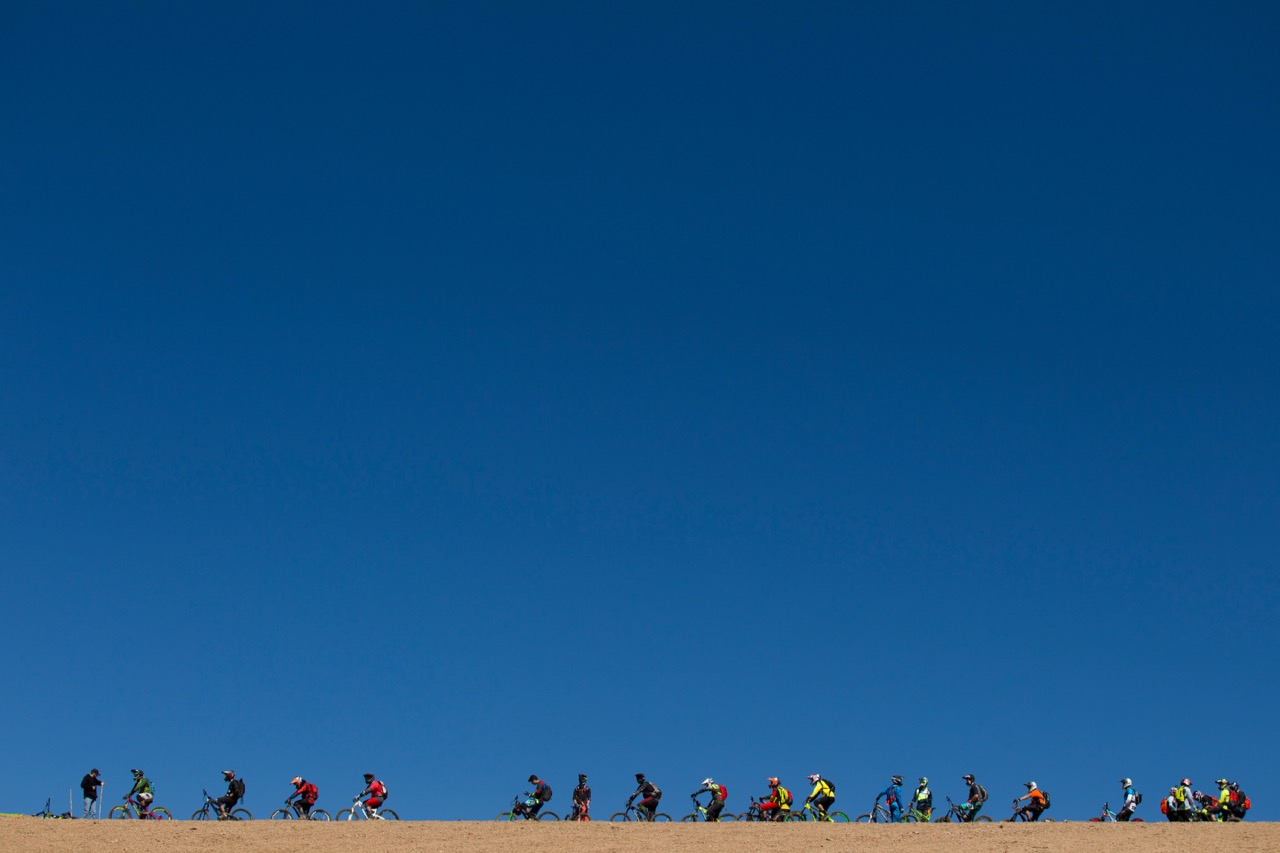 LA PARVA, SANTIAGO, CHILE - 9 February 2016 - Riders await the start of SS1 on Day 1 during the first day of the 2016 Andes-Pacifico, near Santiago Chile, from La Parva Ski Resort with Santa Cruz Bicycles. Photo by Gary Perkin