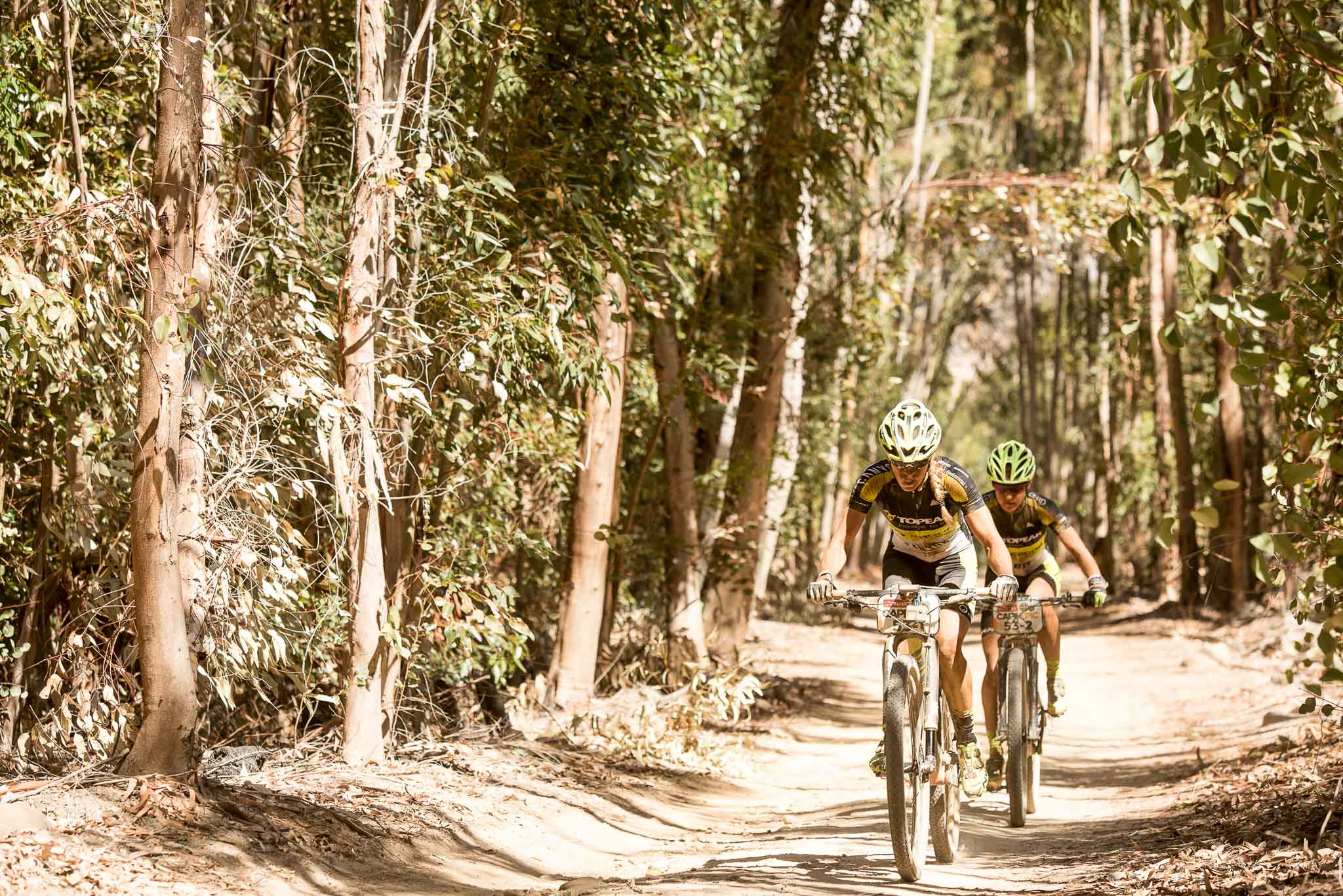 Sally Bigham (front) and Adel Morath (rear) during stage 1 of the 2016 Absa Cape Epic Mountain Bike stage race held from Saronsberg Wine Estate in Tulbagh, South Africa on the 14th March 2016 Photo by Sam Clark/Cape Epic/SPORTZPICS PLEASE ENSURE THE APPROPRIATE CREDIT IS GIVEN TO THE PHOTOGRAPHER AND SPORTZPICS ALONG WITH THE ABSA CAPE EPIC {ace2016}