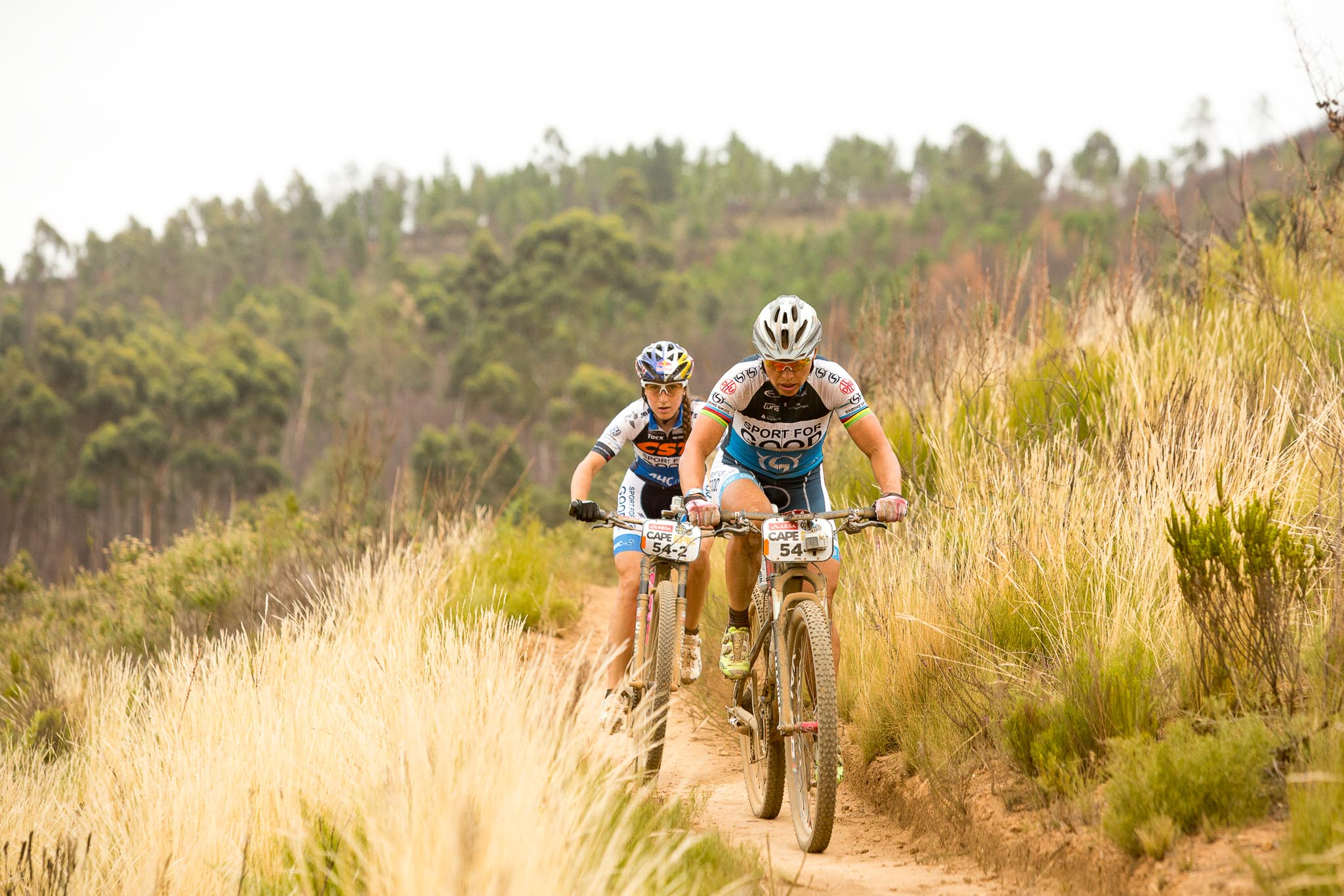 Sabine Spitz (front) and Yana Belomoina (rear) during stage 4 of the 2016 Absa Cape Epic Mountain Bike stage race from the Cape Peninsula University of Technology in Wellington, South Africa on the 17th March 2016 Photo by Sam Clark/Cape Epic/SPORTZPICS PLEASE ENSURE THE APPROPRIATE CREDIT IS GIVEN TO THE PHOTOGRAPHER AND SPORTZPICS ALONG WITH THE ABSA CAPE EPIC ace2016