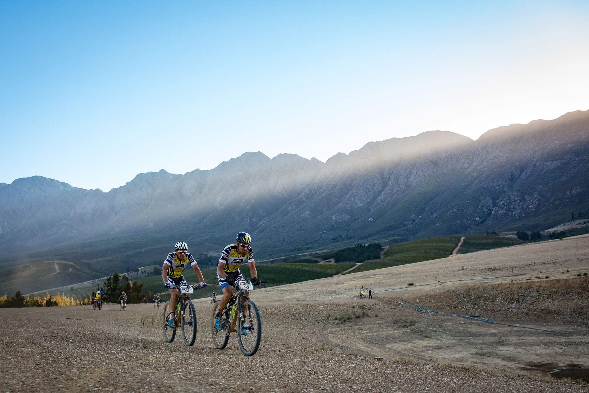 Karl Platt and Urs Huber during stage 1 of the 2016 Absa Cape Epic Mountain Bike stage race held from Saronsberg Wine Estate in Tulbagh, South Africa on the 14th March 2016 Photo by Nick Muzik/Cape Epic/SPORTZPICS PLEASE ENSURE THE APPROPRIATE CREDIT IS GIVEN TO THE PHOTOGRAPHER AND SPORTZPICS ALONG WITH THE ABSA CAPE EPIC {ace2016}