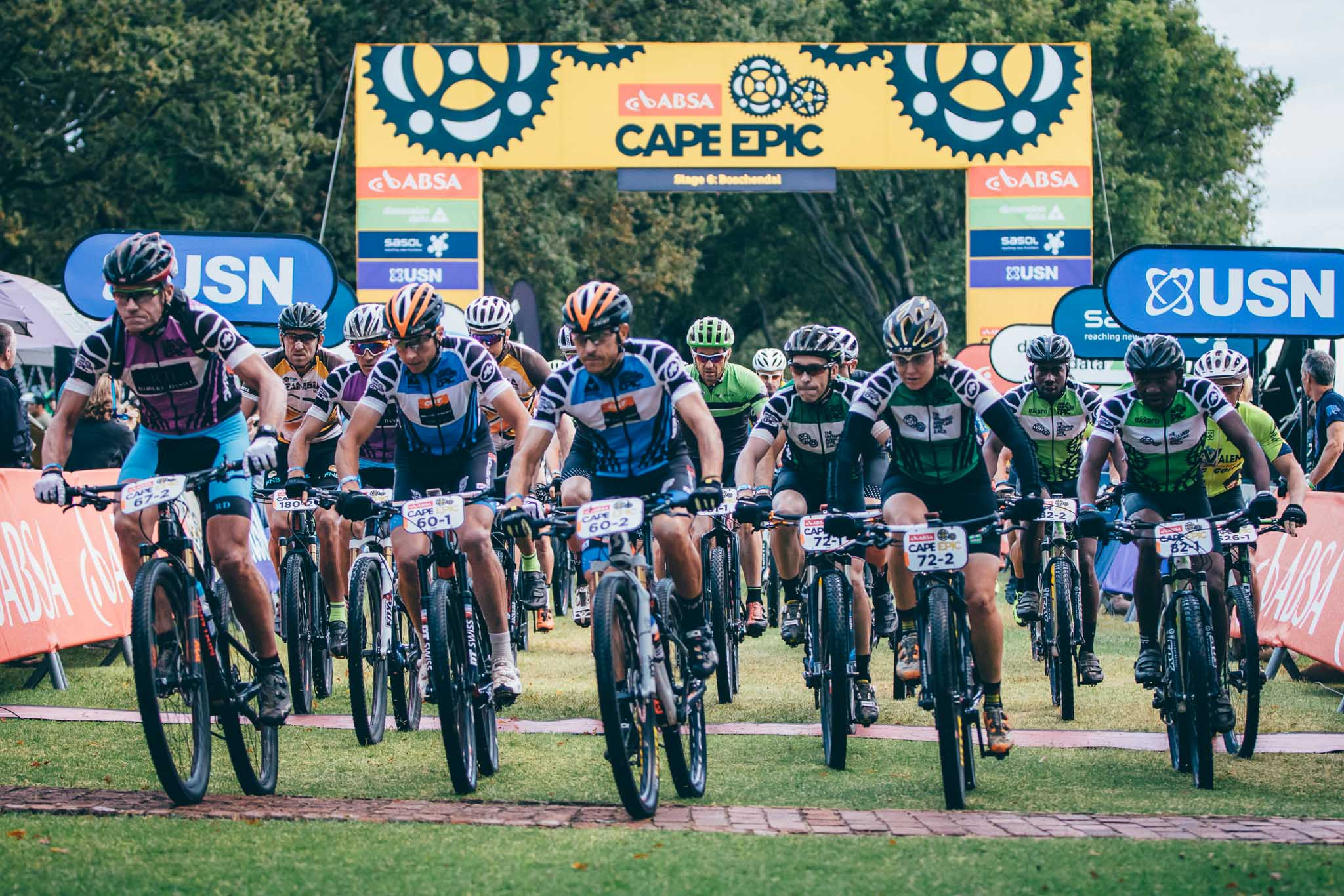 A batch departs the start chute during stage 6 of the 2016 Absa Cape Epic Mountain Bike stage race from Boschendal in Stellenbosch, South Africa on the 19th March 2015 Photo by Ewald Sadie/Cape Epic/SPORTZPICS PLEASE ENSURE THE APPROPRIATE CREDIT IS GIVEN TO THE PHOTOGRAPHER AND SPORTZPICS ALONG WITH THE ABSA CAPE EPIC {ace2016}