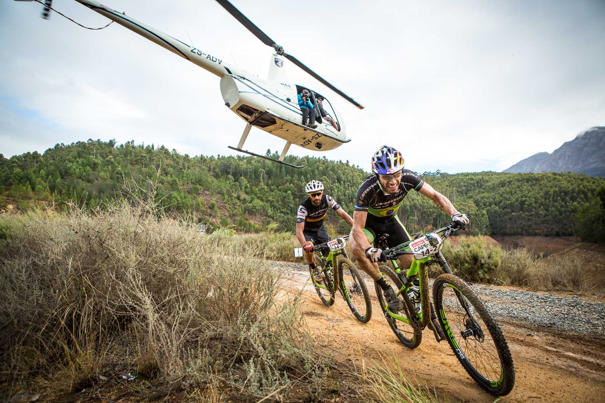 Manuel Fumic and Henrique Avancini of Team Cannondale Factory Racing during stage 6 of the 2016 Absa Cape Epic Mountain Bike stage race from Boschendal in Stellenbosch, South Africa on the 19th March 2015 Photo by Nick Muzik/Cape Epic/SPORTZPICS PLEASE ENSURE THE APPROPRIATE CREDIT IS GIVEN TO THE PHOTOGRAPHER AND SPORTZPICS ALONG WITH THE ABSA CAPE EPIC ace2016