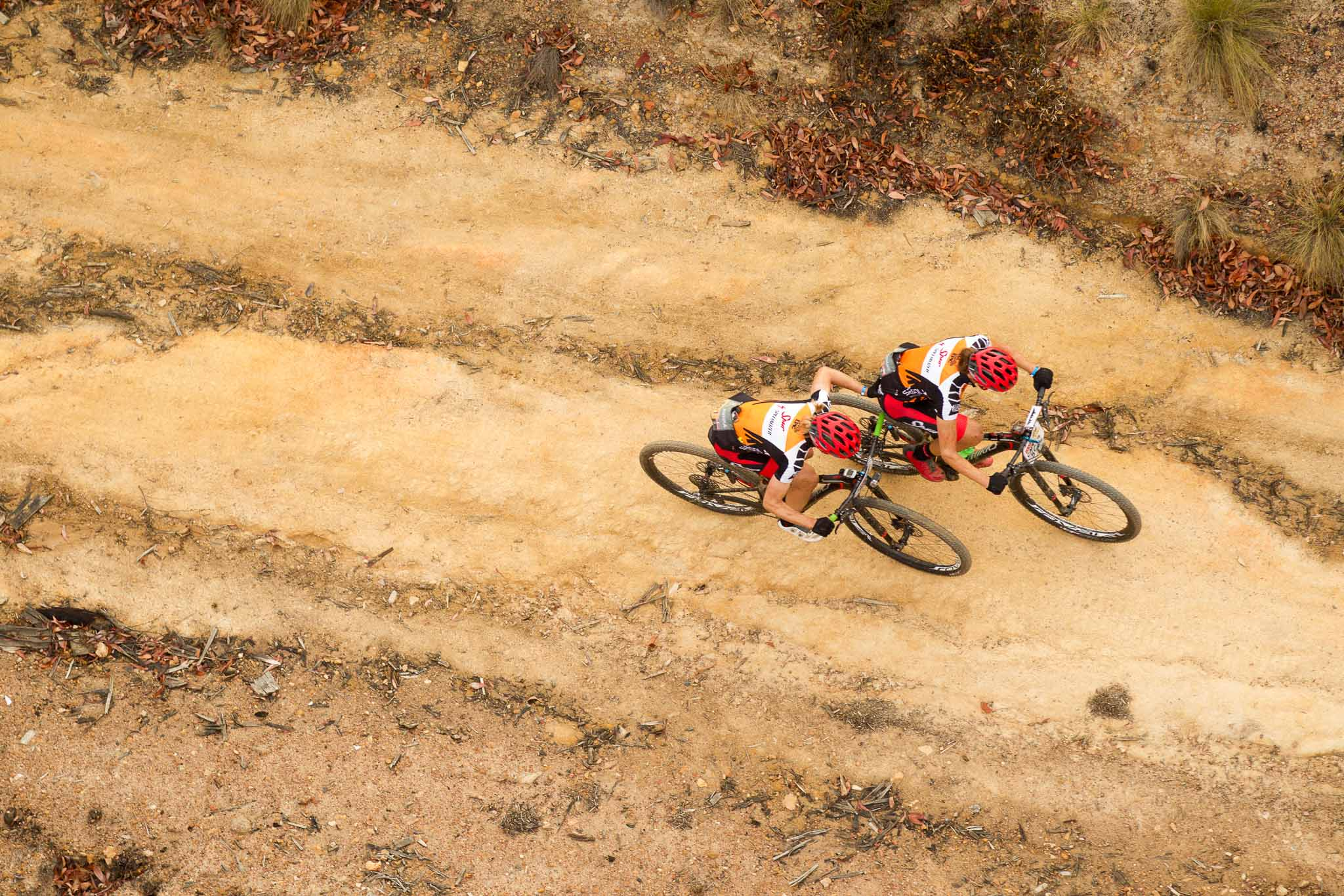 Annika Langvad of Spur-Specialized pushes teammate Ariane Kleinhans during stage 6 of the 2016 Absa Cape Epic Mountain Bike stage race from Boschendal in Stellenbosch, South Africa on the 19th March 2015 Photo by Gary Perkin/Cape Epic/SPORTZPICS PLEASE ENSURE THE APPROPRIATE CREDIT IS GIVEN TO THE PHOTOGRAPHER AND SPORTZPICS ALONG WITH THE ABSA CAPE EPIC ace2016
