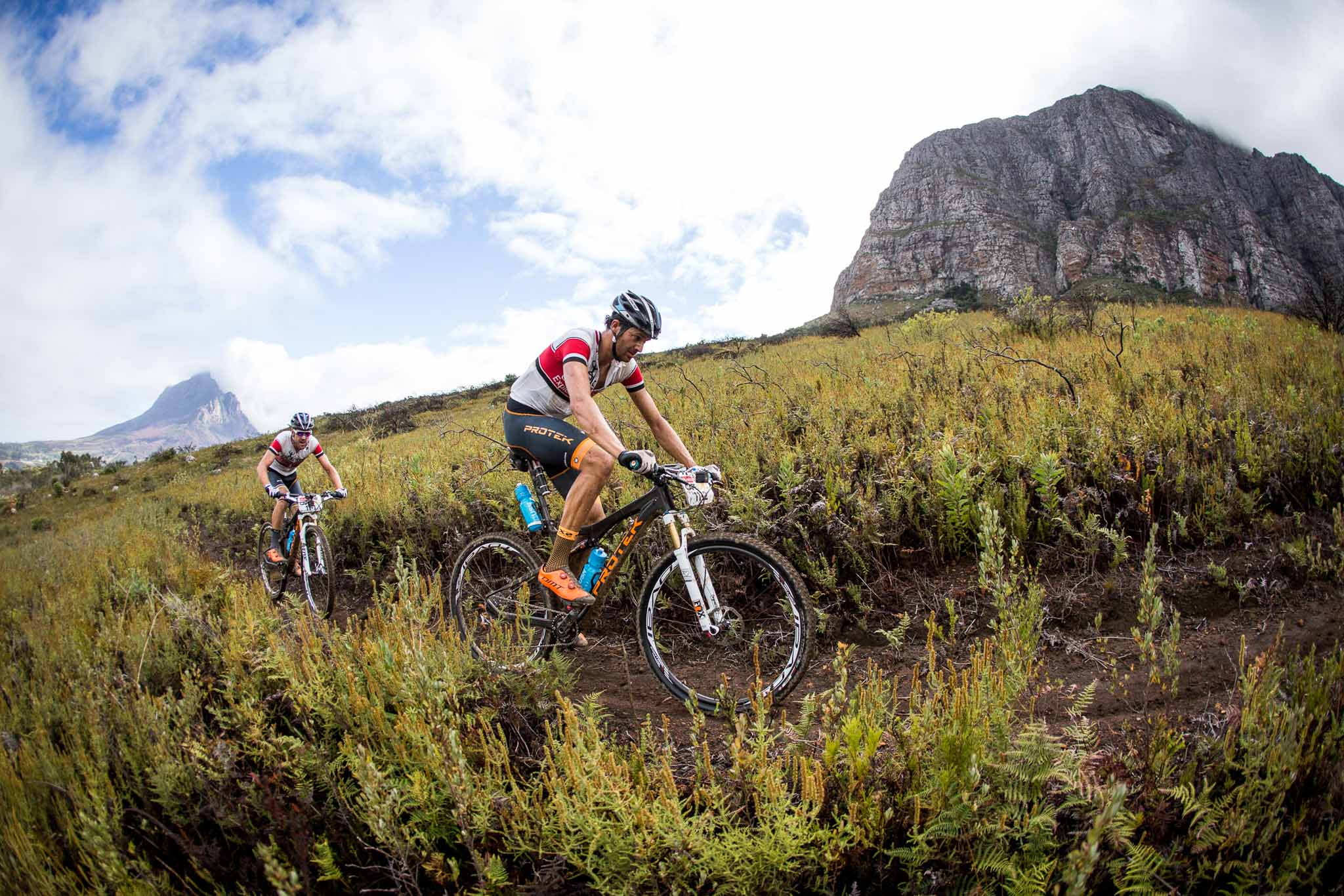 Tiago Jorge Ferreira Oliveira and Periklis Ilias of Team Dolomiti Superbike during stage 6 of the 2016 Absa Cape Epic Mountain Bike stage race from Boschendal in Stellenbosch, South Africa on the 19th March 2015 Photo by Nick Muzik/Cape Epic/SPORTZPICS PLEASE ENSURE THE APPROPRIATE CREDIT IS GIVEN TO THE PHOTOGRAPHER AND SPORTZPICS ALONG WITH THE ABSA CAPE EPIC ace2016