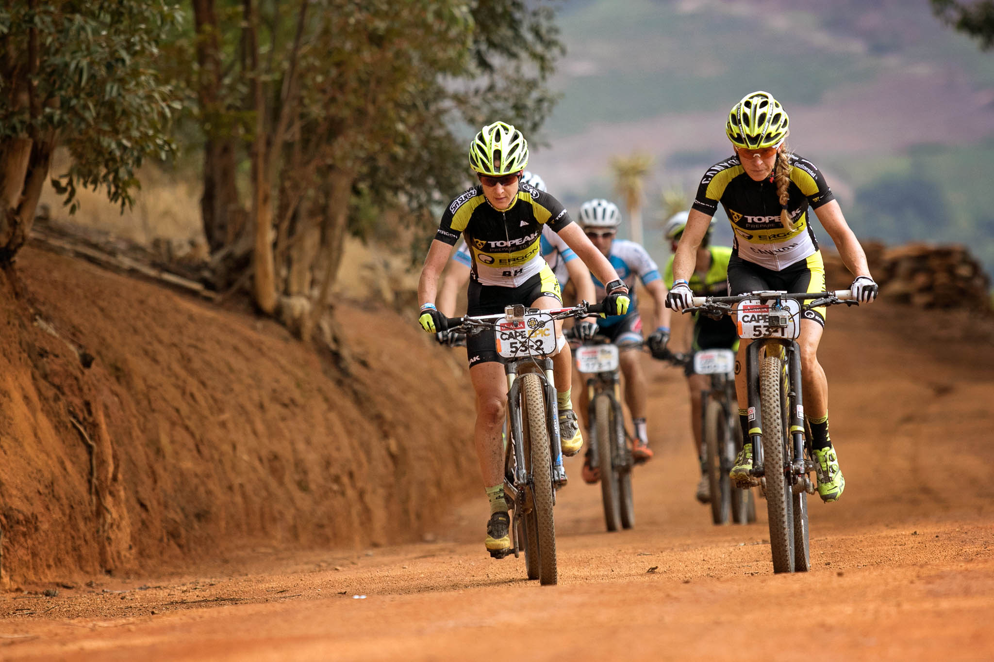 Sally Bigham and Adel Morath of Team Topeak Ergon during stage 6 of the 2016 Absa Cape Epic Mountain Bike stage race from Boschendal in Stellenbosch, South Africa on the 19th March 2015 Photo by Mark Sampson/Cape Epic/SPORTZPICS PLEASE ENSURE THE APPROPRIATE CREDIT IS GIVEN TO THE PHOTOGRAPHER AND SPORTZPICS ALONG WITH THE ABSA CAPE EPIC ace2016