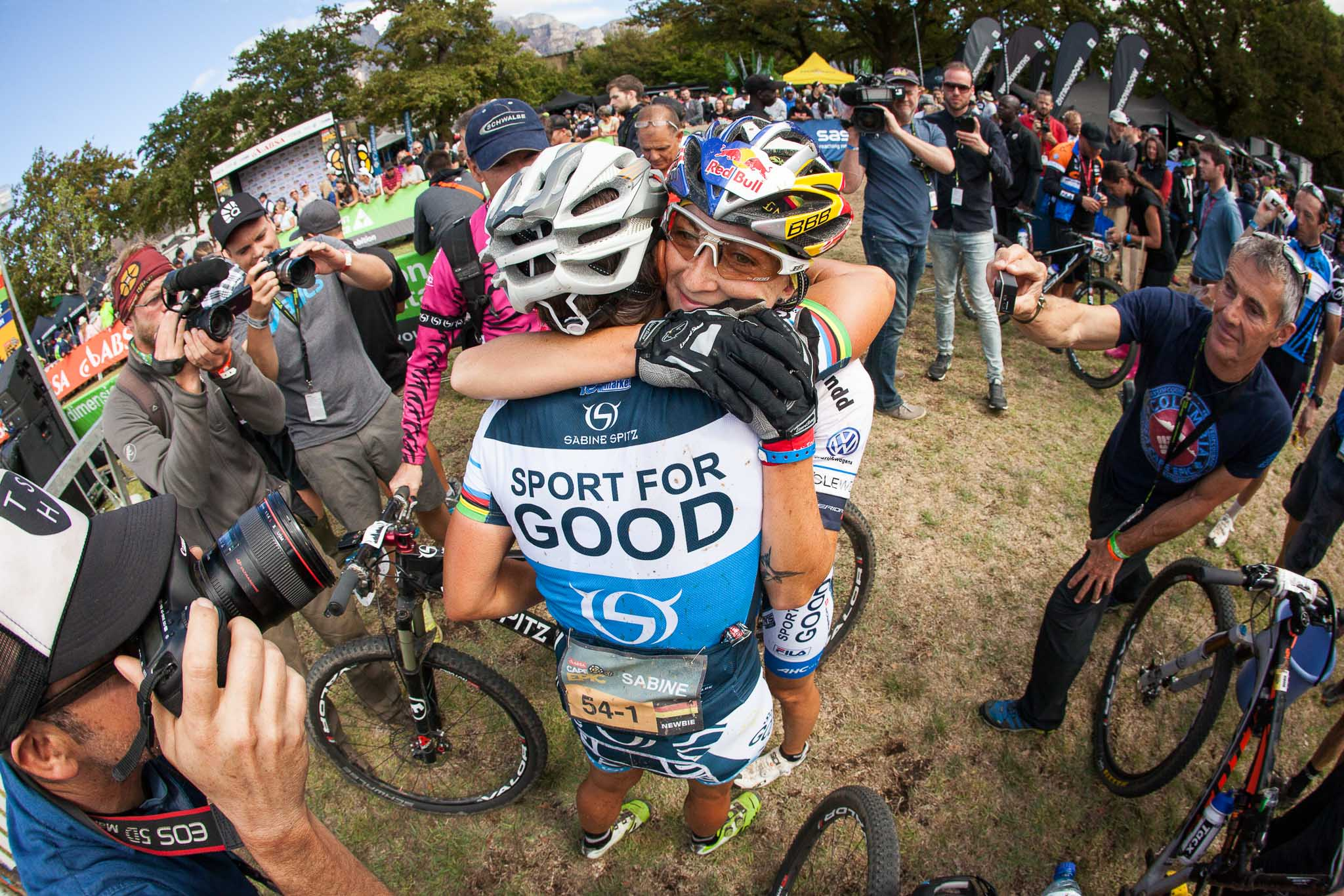 Sabine Spitz and Yana Belomoina win stage 6 of the 2016 Absa Cape Epic Mountain Bike stage race from Boschendal in Stellenbosch, South Africa on the 19th March 2015 Photo by Sam Clark/Cape Epic/SPORTZPICS PLEASE ENSURE THE APPROPRIATE CREDIT IS GIVEN TO THE PHOTOGRAPHER AND SPORTZPICS ALONG WITH THE ABSA CAPE EPIC ace2016