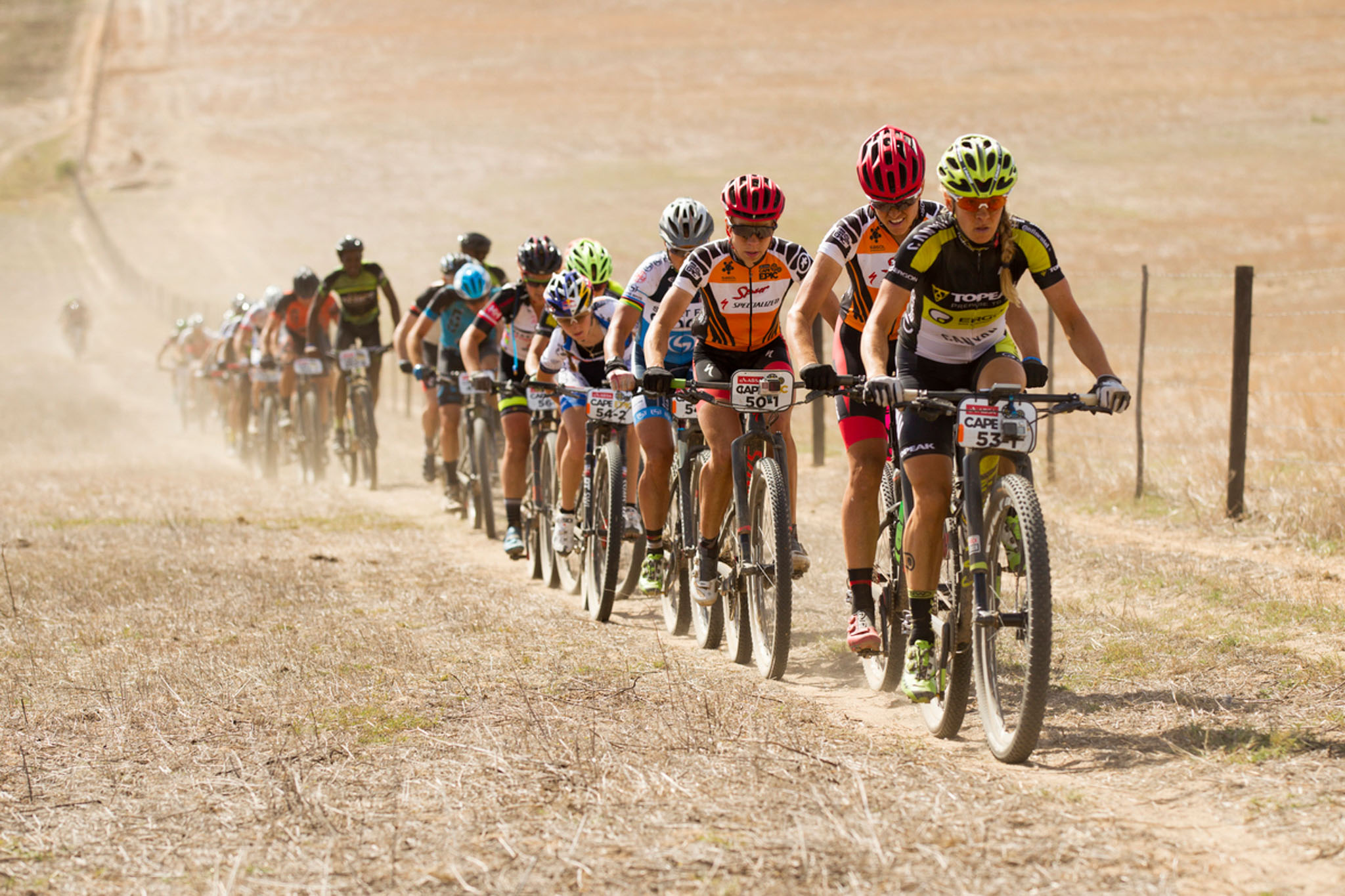 Sally Bigham Topeak Ergon leads overall winners Annika Langvad & Ariane Kleinhans of Spur-Specialized and stage winners Sabine Spitz & Yana Belomoina of Sport for Good during the final stage (stage 7) of the 2016 Absa Cape Epic Mountain Bike stage race from Boschendal in Stellenbosch to Meerendal Wine Estate in Durbanville, South Africa on the 20th March 2016 Photo by Gary Perkin/Cape Epic/SPORTZPICS PLEASE ENSURE THE APPROPRIATE CREDIT IS GIVEN TO THE PHOTOGRAPHER AND SPORTZPICS ALONG WITH THE ABSA CAPE EPIC ace2016
