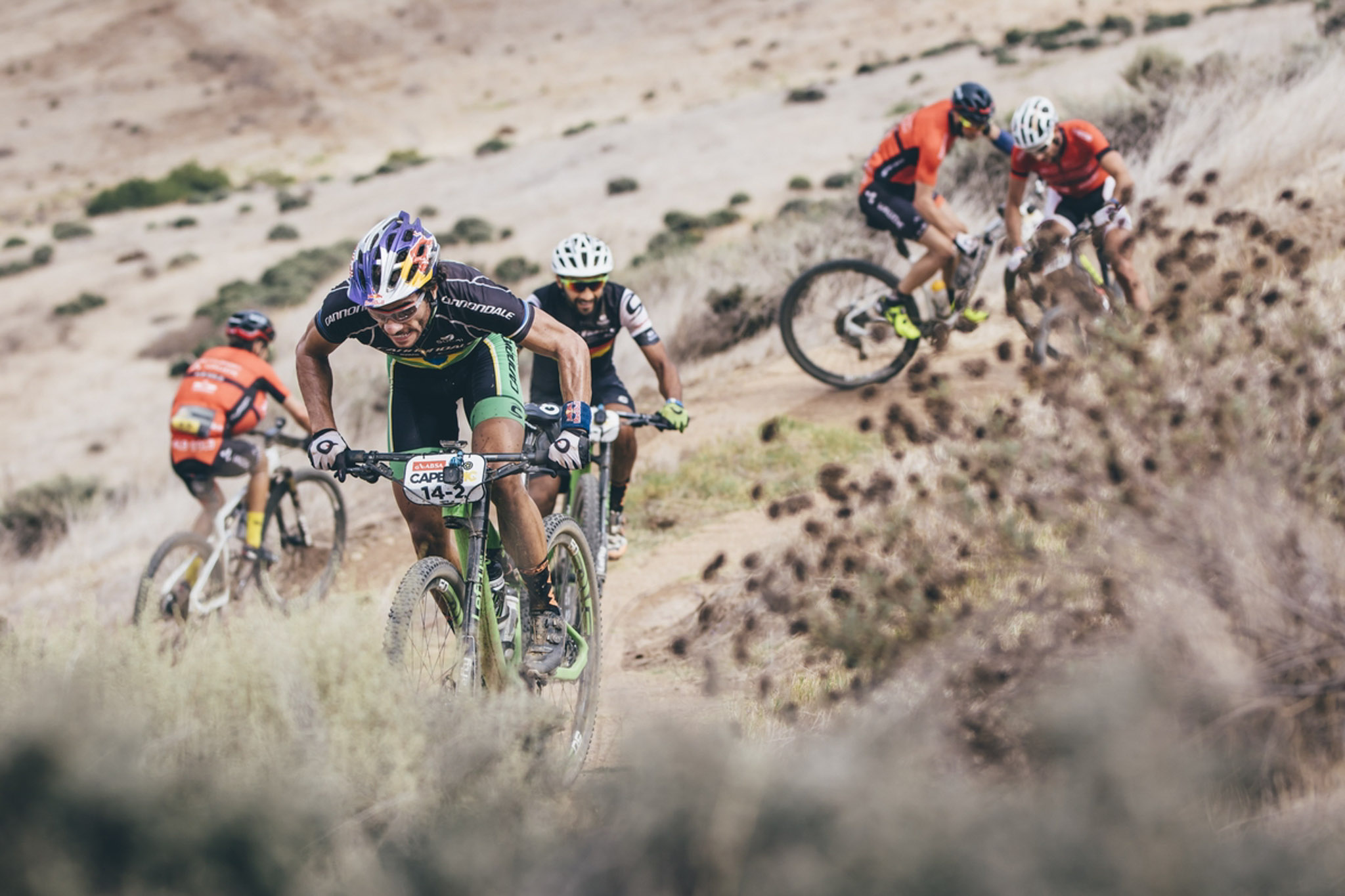Team Cannondale Factory Racing's Manuel Fumic and Henrique Avancini on their way to stage victory during the final stage (stage 7) of the 2016 Absa Cape Epic Mountain Bike stage race from Boschendal in Stellenbosch to Meerendal Wine Estate in Durbanville, South Africa on the 20th March 2016 Photo by Ewald Sadie/Cape Epic/SPORTZPICS PLEASE ENSURE THE APPROPRIATE CREDIT IS GIVEN TO THE PHOTOGRAPHER AND SPORTZPICS ALONG WITH THE ABSA CAPE EPIC ace2016