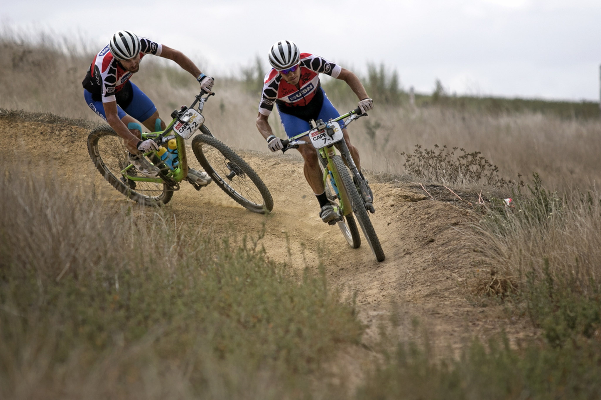 Darren Lill and Waylon Woolcock of Team USN Purefit winning the Absa African jersey overall seen here on the slopes of Meerendal during the final stage (stage 7) of the 2016 Absa Cape Epic Mountain Bike stage race from Boschendal in Stellenbosch to Meerendal Wine Estate in Durbanville, South Africa on the 20th March 2016 Photo by Mark Sampson/Cape Epic/SPORTZPICS PLEASE ENSURE THE APPROPRIATE CREDIT IS GIVEN TO THE PHOTOGRAPHER AND SPORTZPICS ALONG WITH THE ABSA CAPE EPIC ace2016