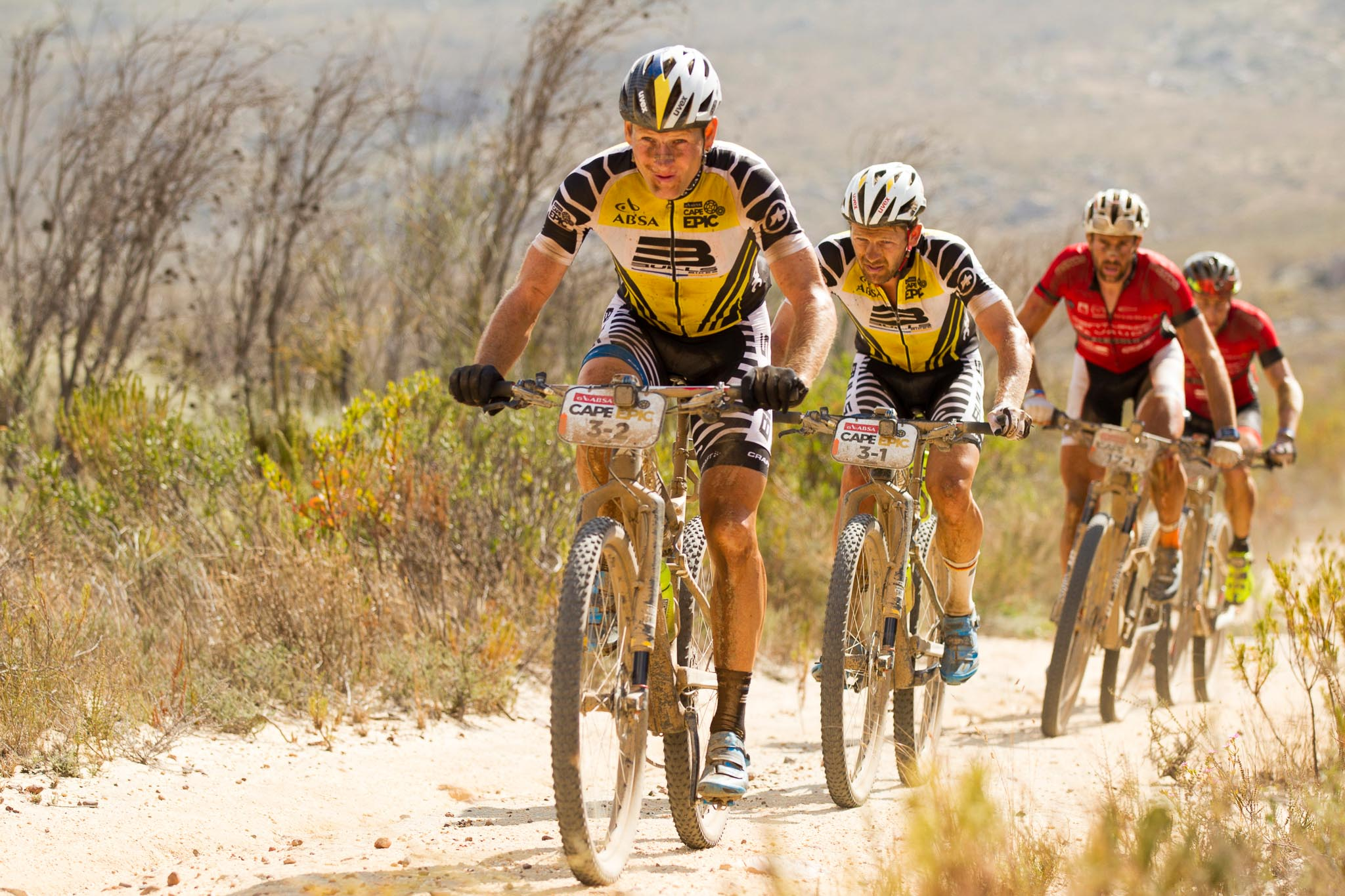 Urs Huber & Karl Platt of Bulls lead Nicola Rohrbach & Matthias Pfrommer of Centurion Vaude by Meerendal 2 during stage 4 of the 2016 Absa Cape Epic Mountain Bike stage race from the Cape Peninsula University of Technology in Wellington, South Africa on the 17th March 2016 Photo by Gary Perkin/Cape Epic/SPORTZPICS PLEASE ENSURE THE APPROPRIATE CREDIT IS GIVEN TO THE PHOTOGRAPHER AND SPORTZPICS ALONG WITH THE ABSA CAPE EPIC ace2016
