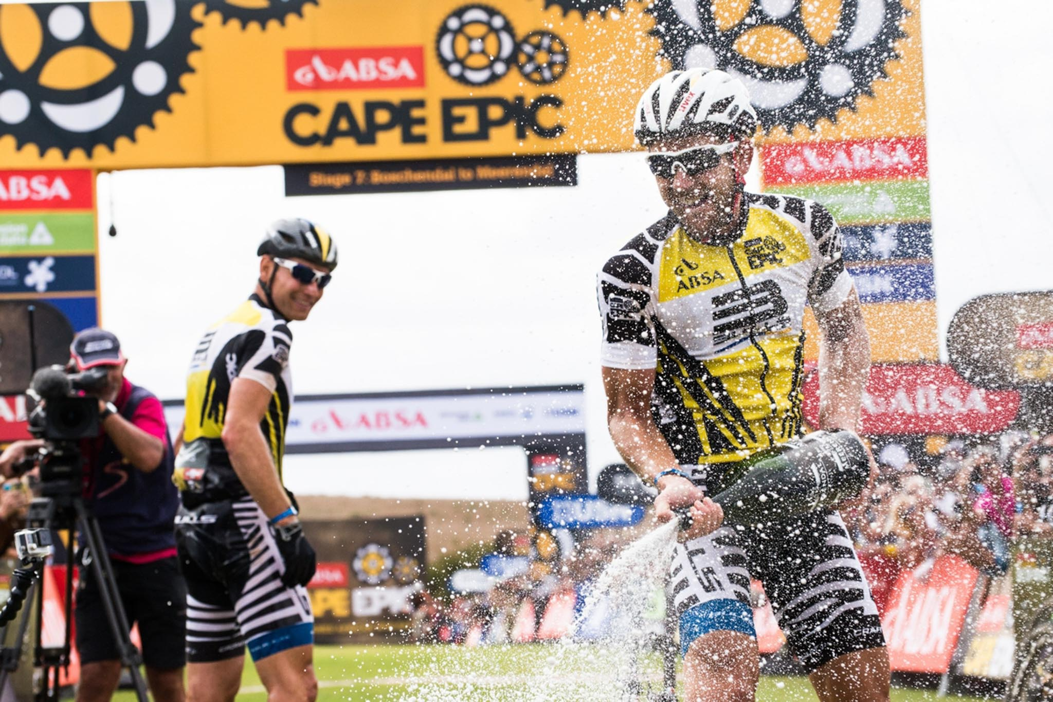 Karl Platt of Germany (Bulls) and Urs Huber of Switzerland (Bulls) celebrating their overall win of this years race as they cross the finish line, during the final stage (stage 7) of the 2016 Absa Cape Epic Mountain Bike stage race from Boschendal in Stellenbosch to Meerendal Wine Estate in Durbanville, South Africa on the 20th March 2016 Photo by Emma Hill/Cape Epic/SPORTZPICS PLEASE ENSURE THE APPROPRIATE CREDIT IS GIVEN TO THE PHOTOGRAPHER AND SPORTZPICS ALONG WITH THE ABSA CAPE EPIC ace2016