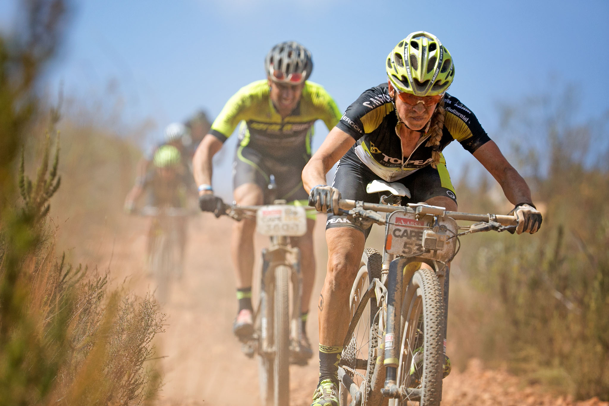 Sally Bigham of Team Topeak Ergon during stage 5 of the 2016 Absa Cape Epic Mountain Bike stage race held from the Cape Peninsula University of Technology in Wellington to Boschendal in Stellenbosch, South Africa on the 18th March 2016 Photo by Mark Sampson/Cape Epic/SPORTZPICS PLEASE ENSURE THE APPROPRIATE CREDIT IS GIVEN TO THE PHOTOGRAPHER AND SPORTZPICS ALONG WITH THE ABSA CAPE EPIC ace2016