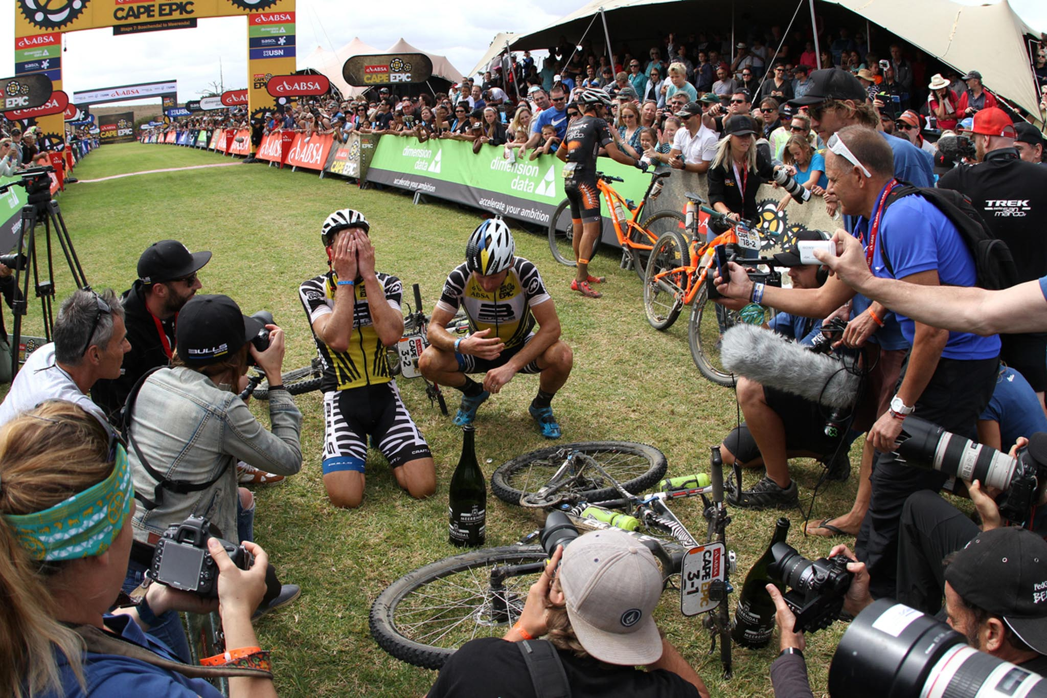 Karl Platt and Urs Huber of the Bulls after winning the 2016 Absa Cape Epic during the final stage (stage 7) of the 2016 Absa Cape Epic Mountain Bike stage race from Boschendal in Stellenbosch to Meerendal Wine Estate in Durbanville, South Africa on the 20th March 2016 Photo by Shaun Roy/Cape Epic/SPORTZPICS PLEASE ENSURE THE APPROPRIATE CREDIT IS GIVEN TO THE PHOTOGRAPHER AND SPORTZPICS ALONG WITH THE ABSA CAPE EPIC {ace2016}