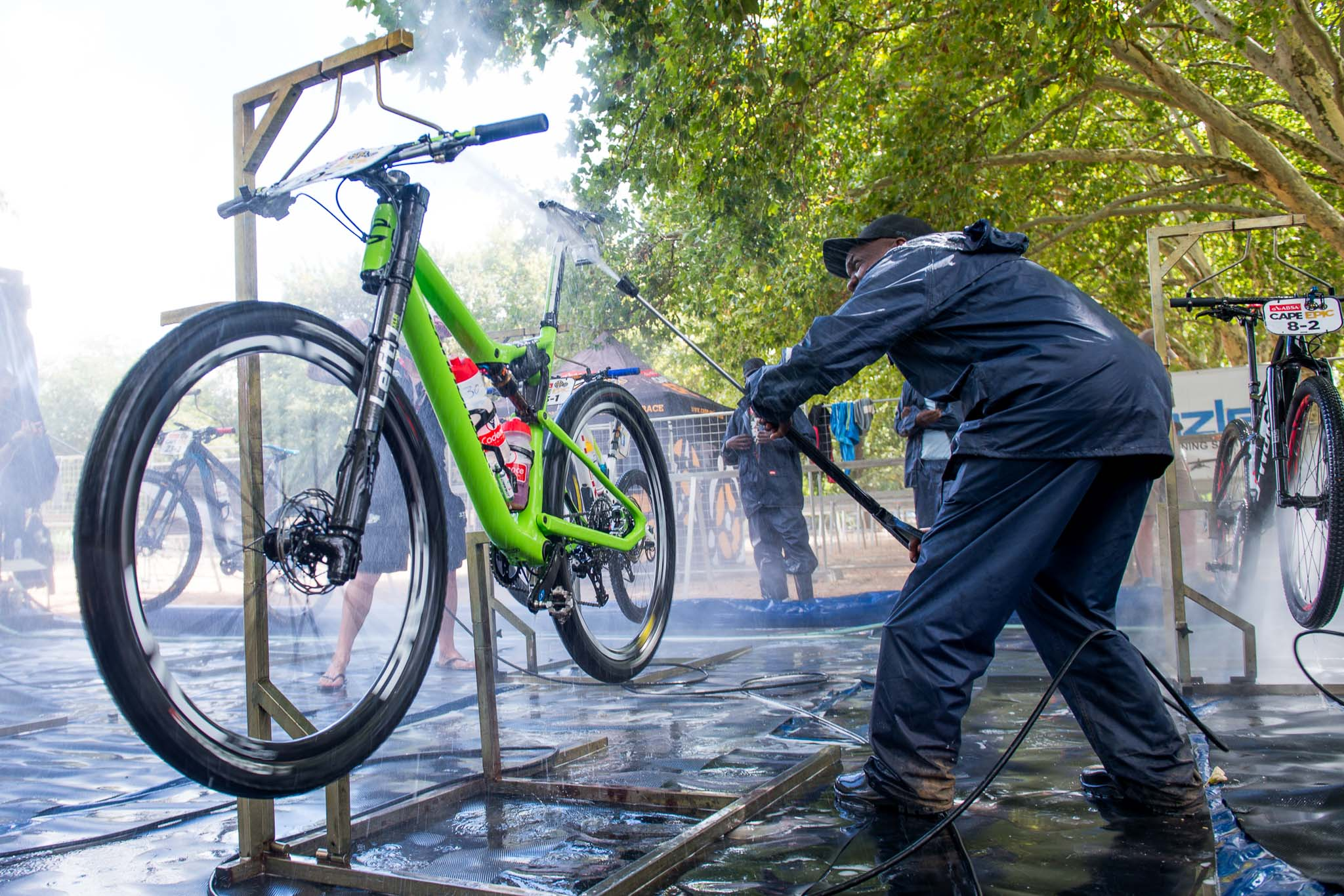 Matthew Beers of South Africa (GoPro) has his bike cleaned by the bike wash team just after arriving at Boschendal, during stage 5 of the 2016 Absa Cape Epic Mountain Bike stage race held from the Cape Peninsula University of Technology in Wellington to Boschendal in Stellenbosch, South Africa on the 18th March 2016 Photo by Emma Hill/Cape Epic/SPORTZPICS PLEASE ENSURE THE APPROPRIATE CREDIT IS GIVEN TO THE PHOTOGRAPHER AND SPORTZPICS ALONG WITH THE ABSA CAPE EPIC ace2016