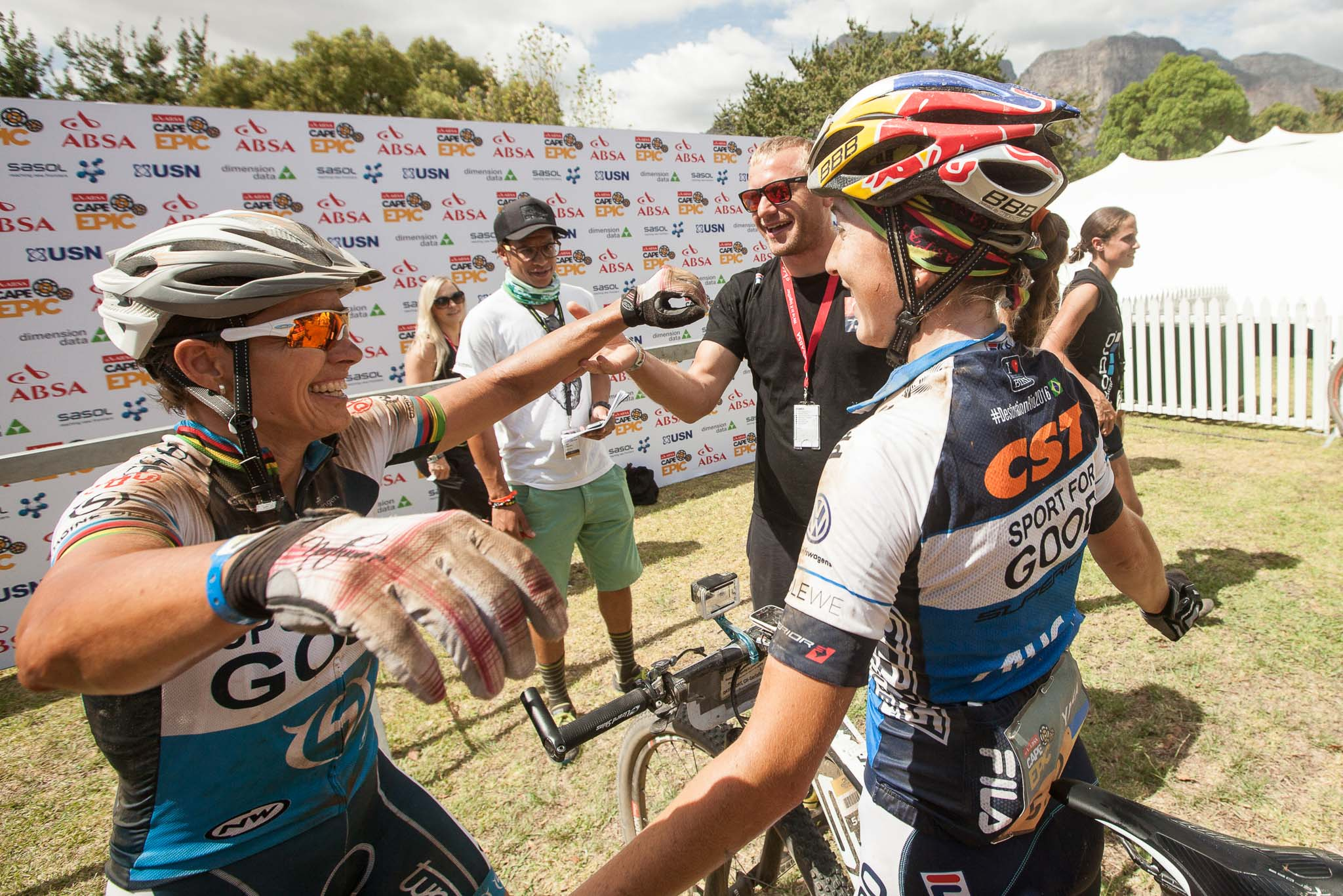 Sabine Spitz and Yana Belomoina win stage 5 of the 2016 Absa Cape Epic Mountain Bike stage race held from the Cape Peninsula University of Technology in Wellington to Boschendal in Stellenbosch, South Africa on the 18th March 2016 Photo by Sam Clark/Cape Epic/SPORTZPICS PLEASE ENSURE THE APPROPRIATE CREDIT IS GIVEN TO THE PHOTOGRAPHER AND SPORTZPICS ALONG WITH THE ABSA CAPE EPIC ace2016