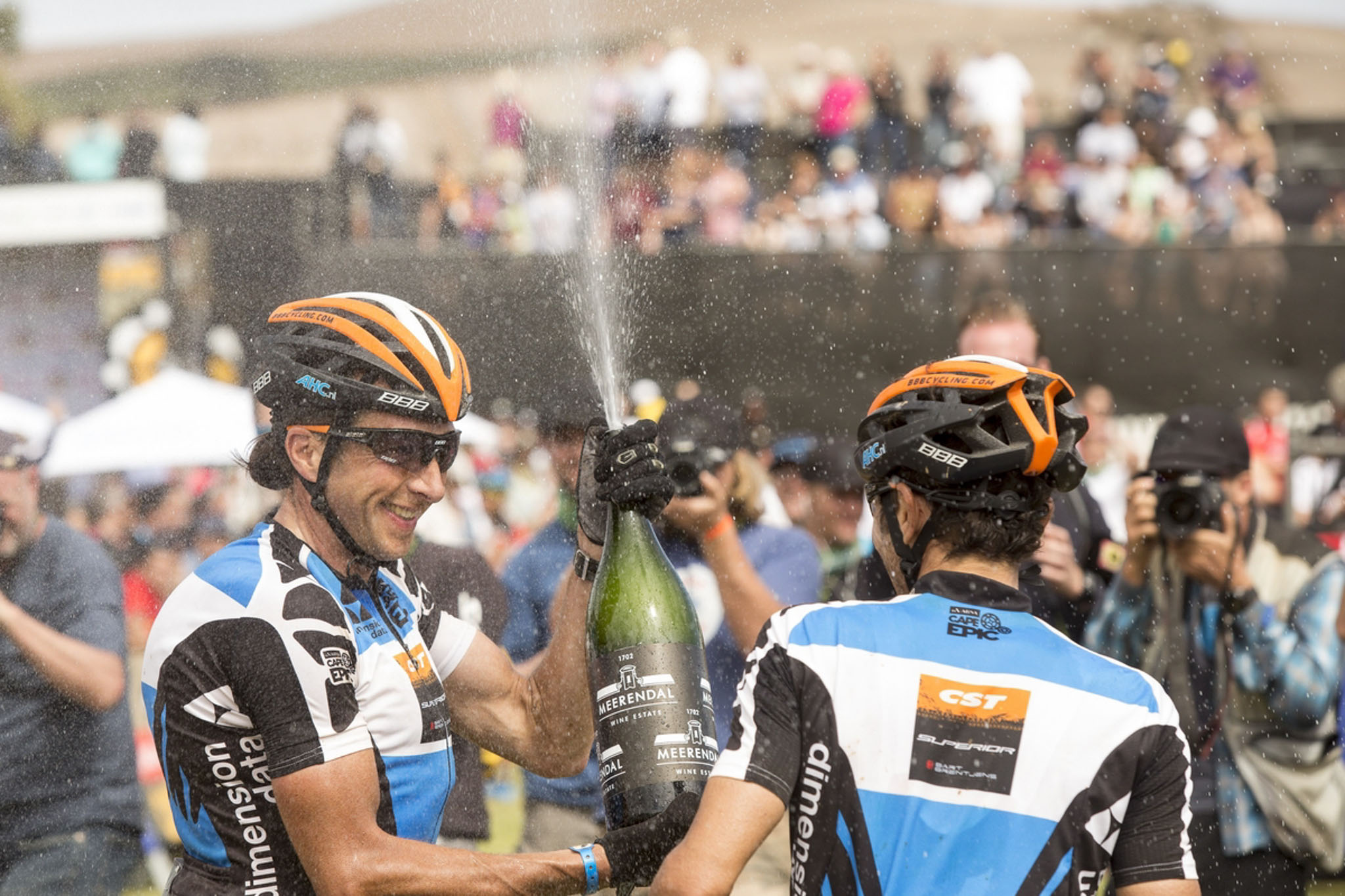 Bart Brentjens and Abraao Azevedo celebrate after the final stage (stage 7) of the 2016 Absa Cape Epic Mountain Bike stage race from Boschendal in Stellenbosch to Meerendal Wine Estate in Durbanville, South Africa on the 20th March 2016 Photo by Sam Clark/Cape Epic/SPORTZPICS PLEASE ENSURE THE APPROPRIATE CREDIT IS GIVEN TO THE PHOTOGRAPHER AND SPORTZPICS ALONG WITH THE ABSA CAPE EPIC ace2016