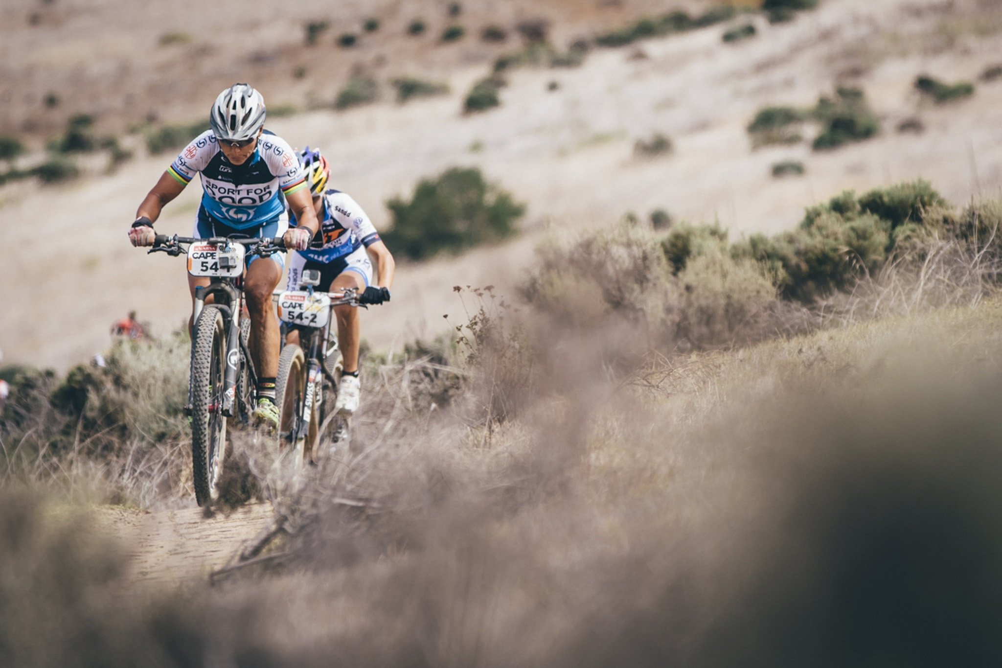 Team Sport for Good's Sabine Spitz and Yana Belomoina on their way to stage victory during the final stage (stage 7) of the 2016 Absa Cape Epic Mountain Bike stage race from Boschendal in Stellenbosch to Meerendal Wine Estate in Durbanville, South Africa on the 20th March 2016 Photo by Ewald Sadie/Cape Epic/SPORTZPICS PLEASE ENSURE THE APPROPRIATE CREDIT IS GIVEN TO THE PHOTOGRAPHER AND SPORTZPICS ALONG WITH THE ABSA CAPE EPIC ace2016