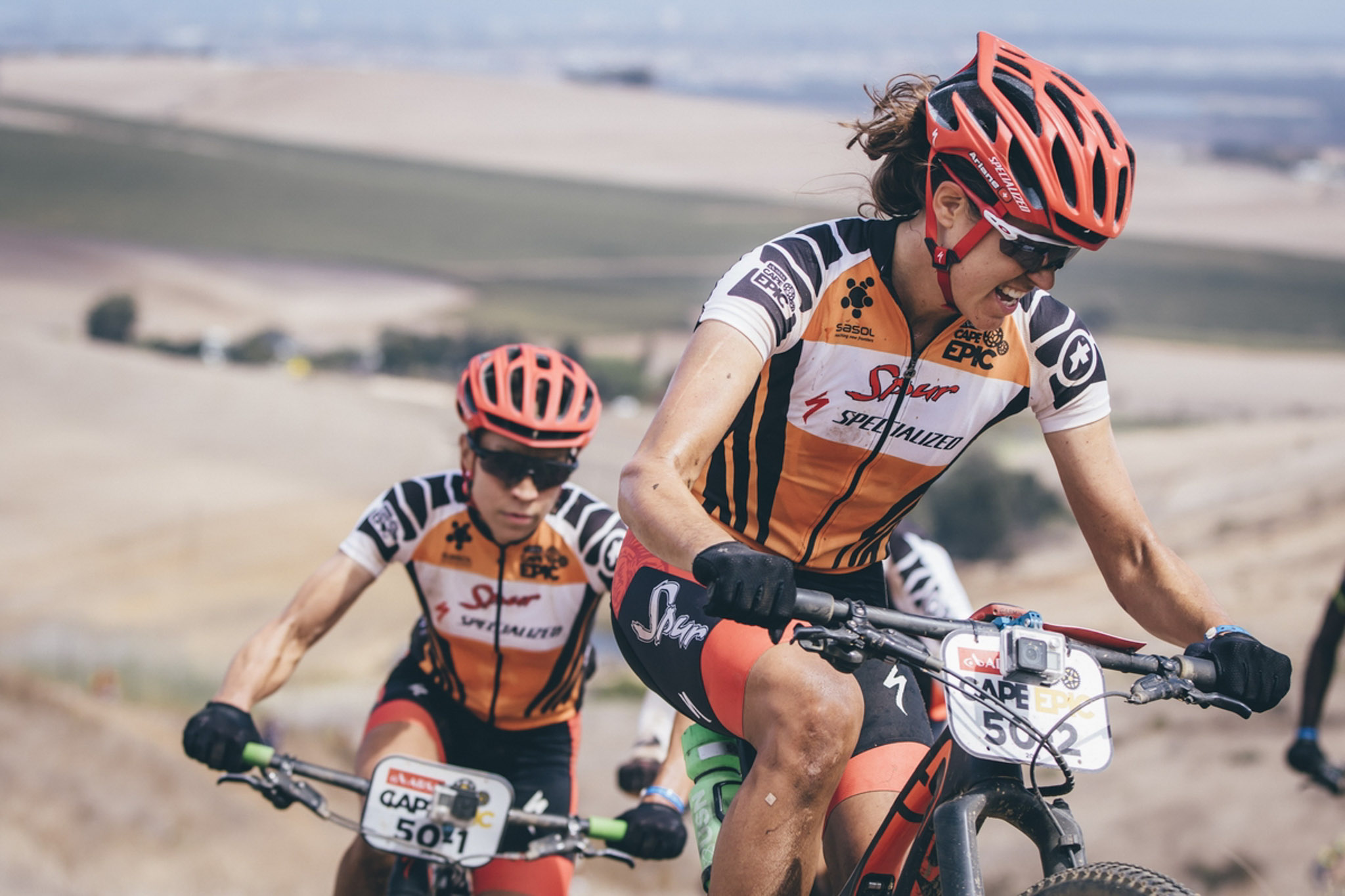 Team Spur Specialized's Ariane Kleinhans and Annika Langvad on their way to overall victory in the ladies category during the final stage (stage 7) of the 2016 Absa Cape Epic Mountain Bike stage race from Boschendal in Stellenbosch to Meerendal Wine Estate in Durbanville, South Africa on the 20th March 2016 Photo by Ewald Sadie/Cape Epic/SPORTZPICS PLEASE ENSURE THE APPROPRIATE CREDIT IS GIVEN TO THE PHOTOGRAPHER AND SPORTZPICS ALONG WITH THE ABSA CAPE EPIC ace2016
