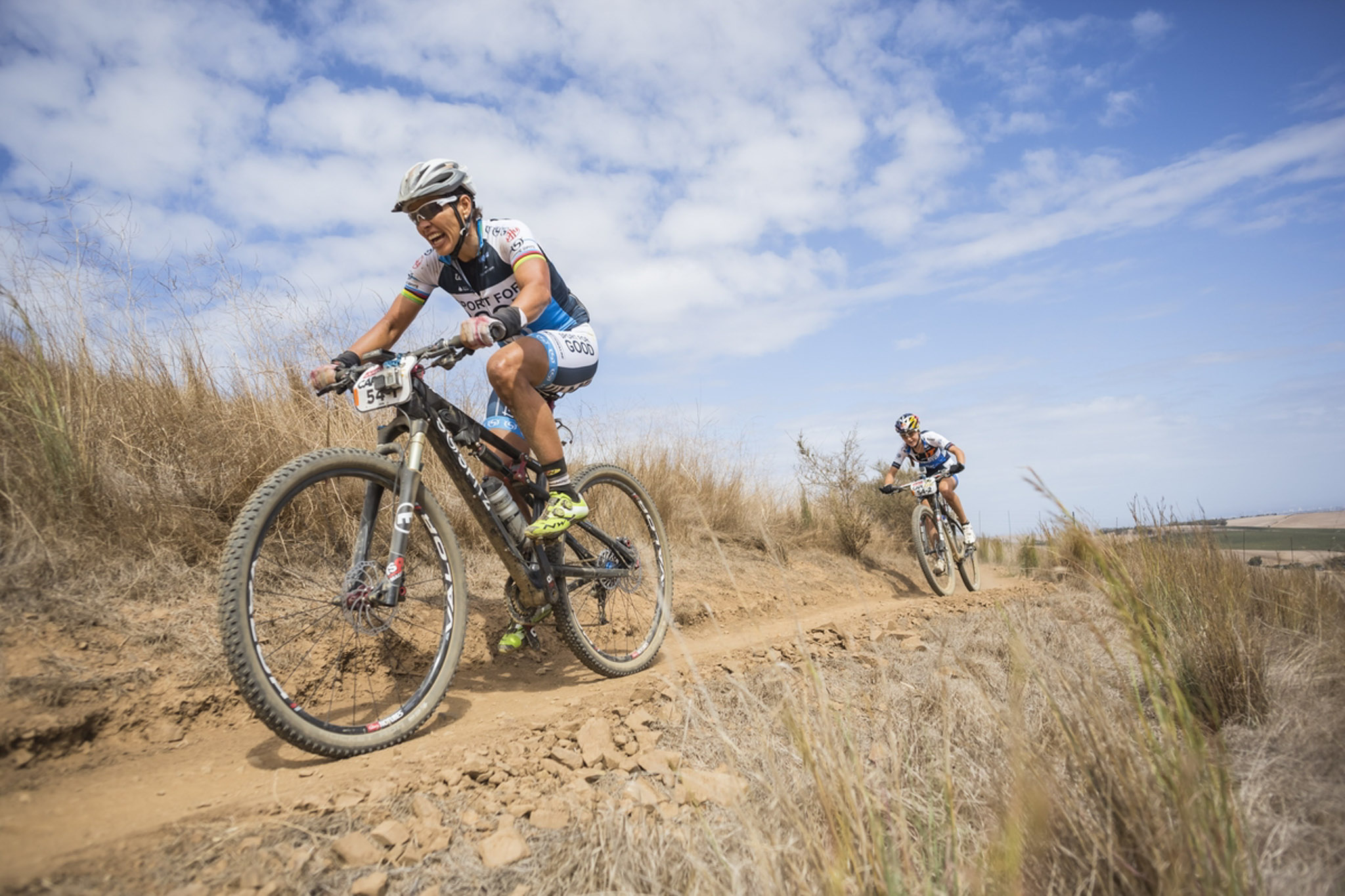 Sabine Spitz and Yana Belomoina during the final stage (stage 7) of the 2016 Absa Cape Epic Mountain Bike stage race from Boschendal in Stellenbosch to Meerendal Wine Estate in Durbanville, South Africa on the 20th March 2016 Photo by Dominic Barnardt/Cape Epic/SPORTZPICS PLEASE ENSURE THE APPROPRIATE CREDIT IS GIVEN TO THE PHOTOGRAPHER AND SPORTZPICS ALONG WITH THE ABSA CAPE EPIC ace2016