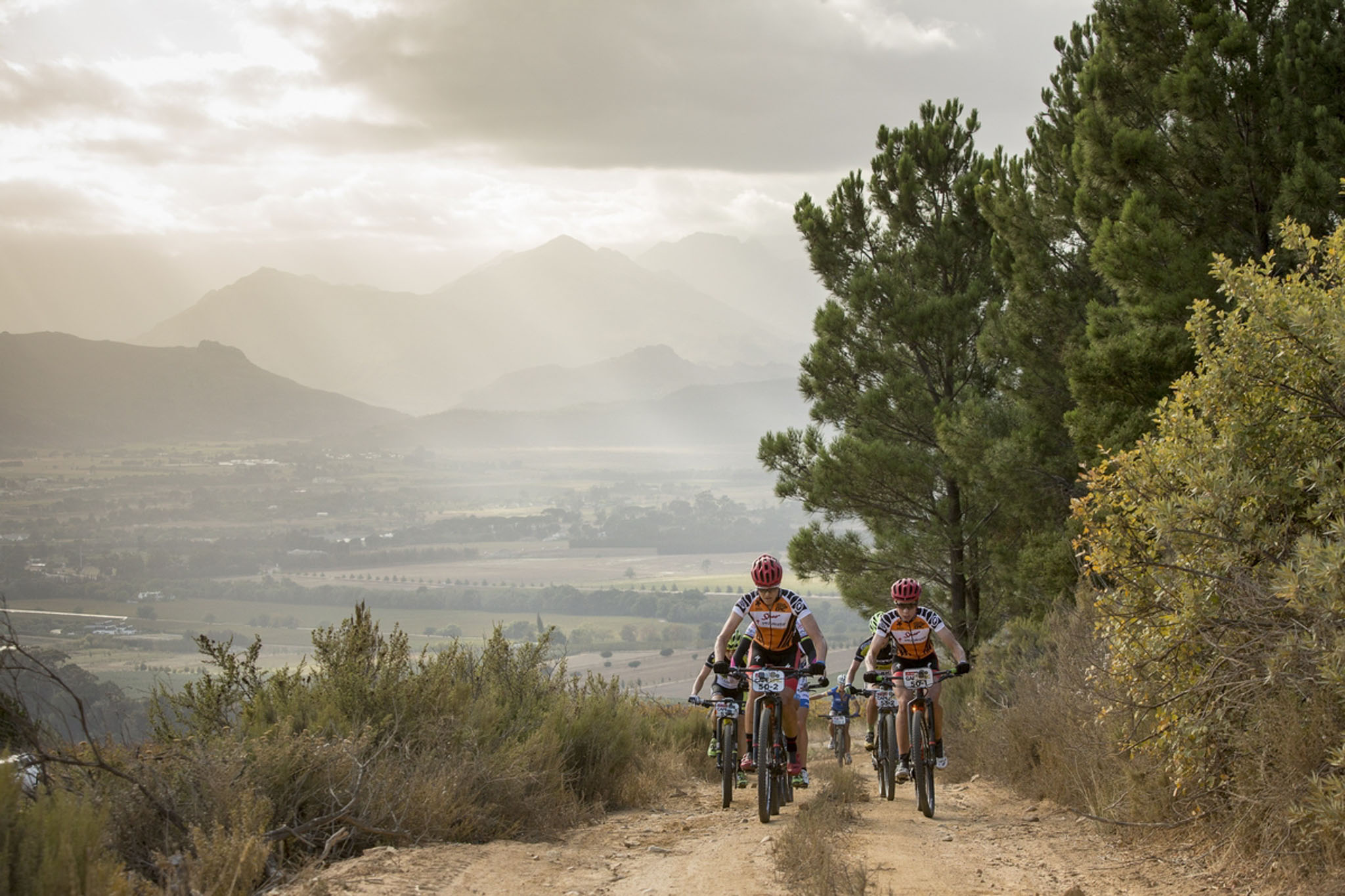 Annika Langvad and Ariane Kleinhans lead the ladies peloton during the final stage (stage 7) of the 2016 Absa Cape Epic Mountain Bike stage race from Boschendal in Stellenbosch to Meerendal Wine Estate in Durbanville, South Africa on the 20th March 2016 Photo by Sam Clark/Cape Epic/SPORTZPICS PLEASE ENSURE THE APPROPRIATE CREDIT IS GIVEN TO THE PHOTOGRAPHER AND SPORTZPICS ALONG WITH THE ABSA CAPE EPIC ace2016
