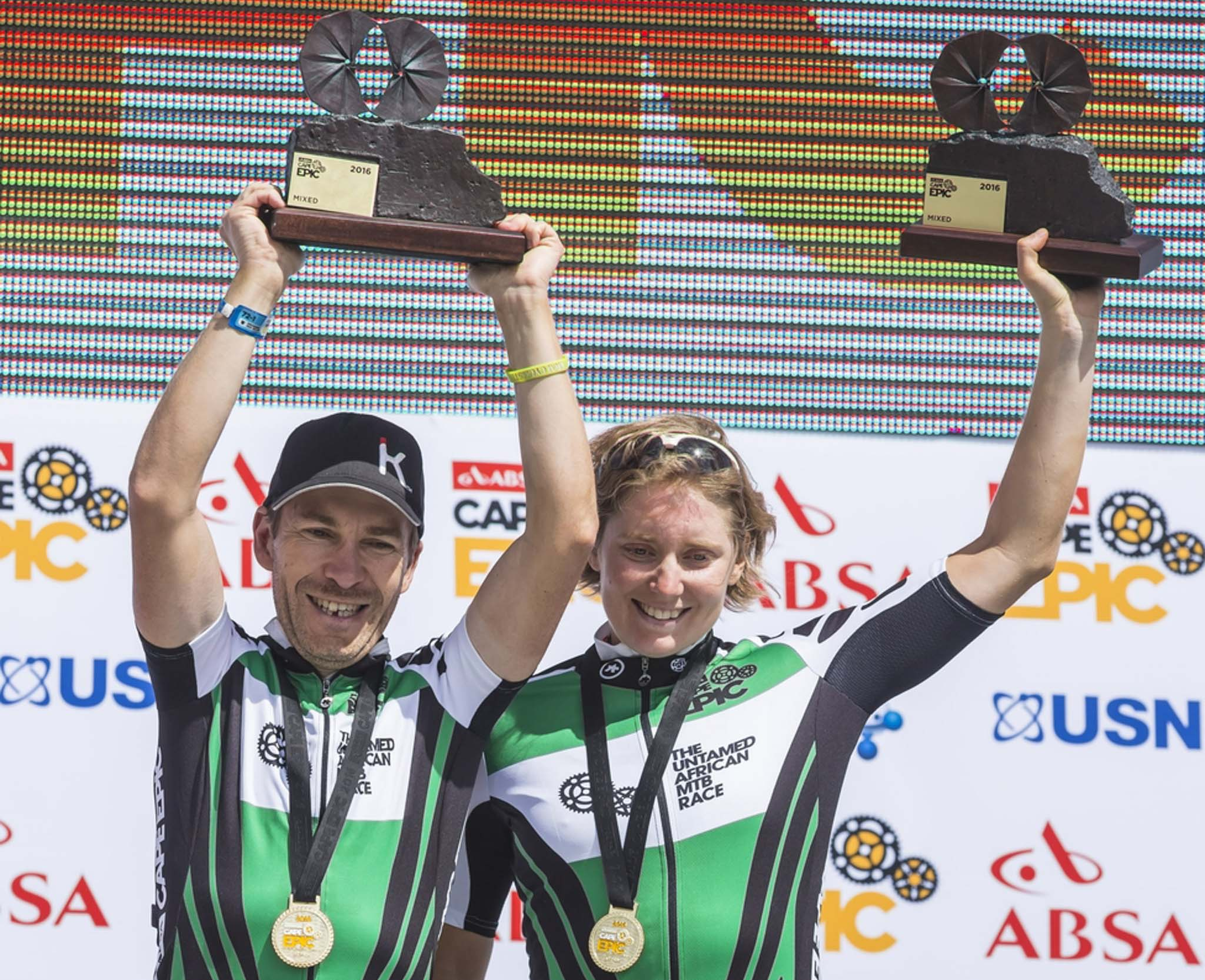 Mixed green jersey winners Jean-Francois Bossler and Fanny Bourdon during the final stage (stage 7) of the 2016 Absa Cape Epic Mountain Bike stage race from Boschendal in Stellenbosch to Meerendal Wine Estate in Durbanville, South Africa on the 20th March 2016 Photo by Dominic Barnardt/Cape Epic/SPORTZPICS PLEASE ENSURE THE APPROPRIATE CREDIT IS GIVEN TO THE PHOTOGRAPHER AND SPORTZPICS ALONG WITH THE ABSA CAPE EPIC ace2016