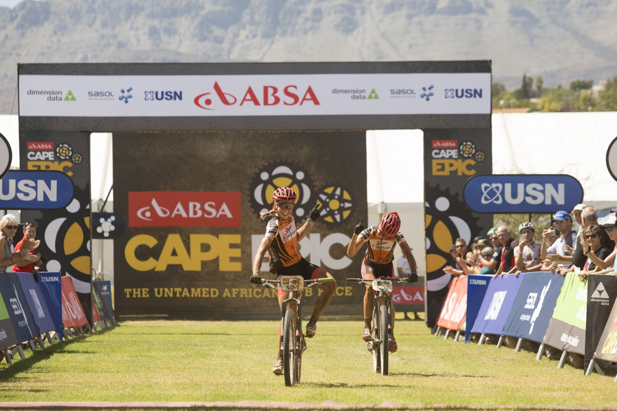 Ariane Kleinhans (R) and Annika Langvad (L) Win stage 3 of the 2016 Absa Cape Epic Mountain Bike stage race held from Saronsberg Wine Estate in Tulbagh to the Cape Peninsula University of Technology in Wellington, South Africa on the 16th March 2016 Photo by Sam Clark/Cape Epic/SPORTZPICS PLEASE ENSURE THE APPROPRIATE CREDIT IS GIVEN TO THE PHOTOGRAPHER AND SPORTZPICS ALONG WITH THE ABSA CAPE EPIC ace2016