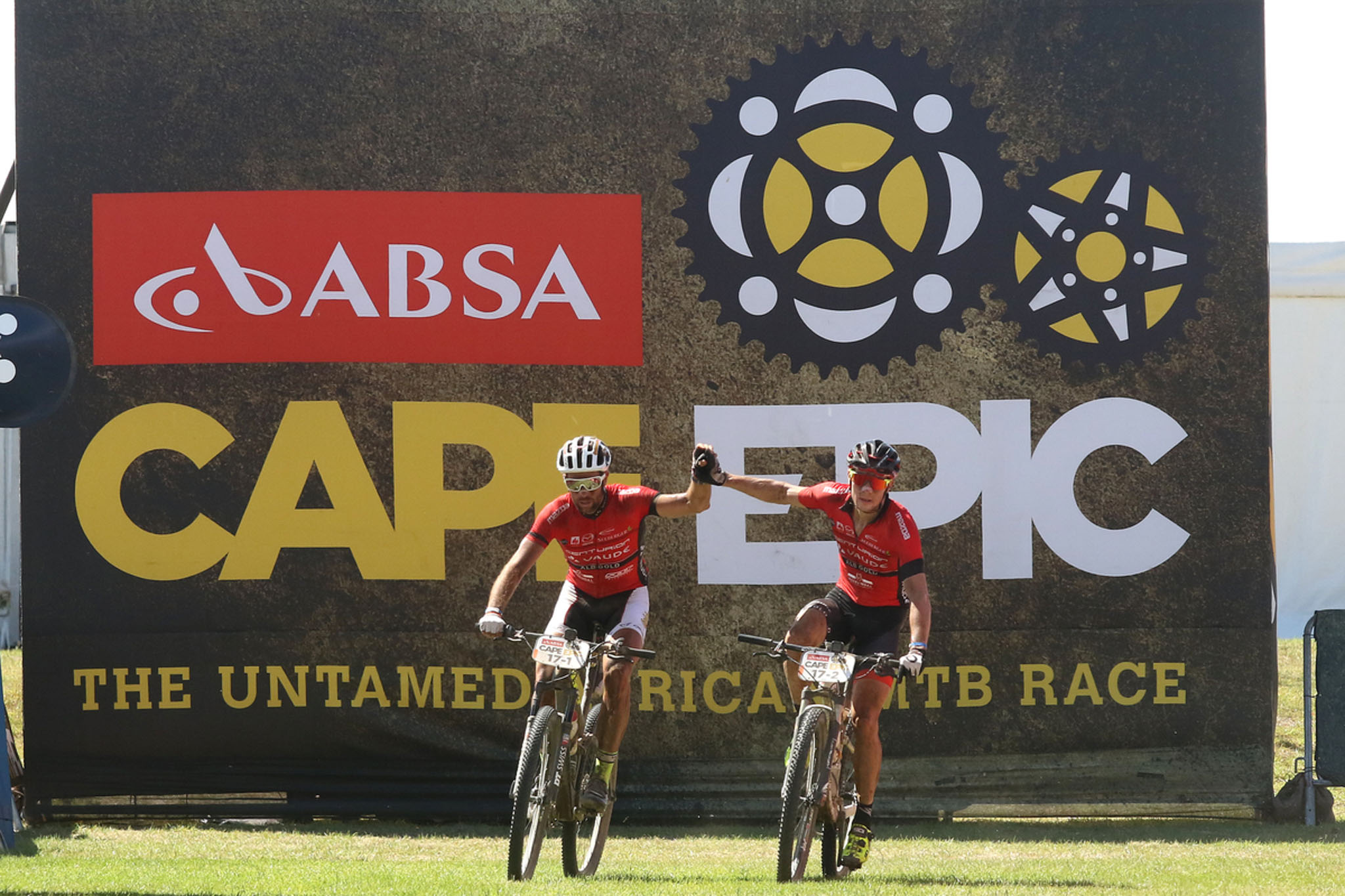Nicola Rohrbach and Matthias Pfommer of Centurion Vaude by Meerendal 2 celebratee finishing in second place during stage 3 of the 2016 Absa Cape Epic Mountain Bike stage race held from Saronsberg Wine Estate in Tulbagh to the Cape Peninsula University of Technology in Wellington, South Africa on the 16th March 2016 Photo by Shaun Roy/Cape Epic/SPORTZPICS PLEASE ENSURE THE APPROPRIATE CREDIT IS GIVEN TO THE PHOTOGRAPHER AND SPORTZPICS ALONG WITH THE ABSA CAPE EPIC {ace2016}