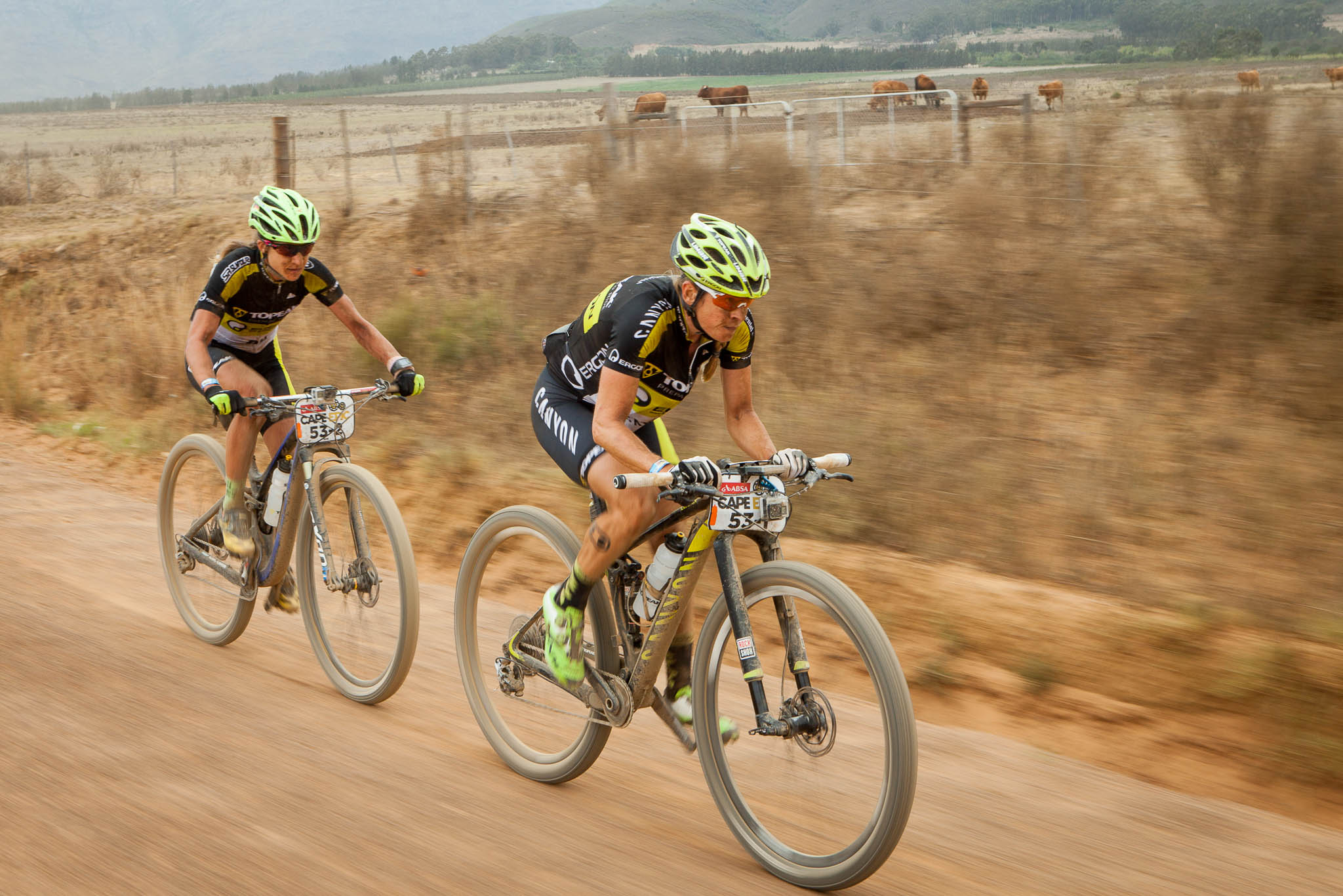 Sally Bigham (R) Adel Morath (L) during stage 4 of the 2016 Absa Cape Epic Mountain Bike stage race from the Cape Peninsula University of Technology in Wellington, South Africa on the 17th March 2016 Photo by Sam Clark/Cape Epic/SPORTZPICS PLEASE ENSURE THE APPROPRIATE CREDIT IS GIVEN TO THE PHOTOGRAPHER AND SPORTZPICS ALONG WITH THE ABSA CAPE EPIC ace2016