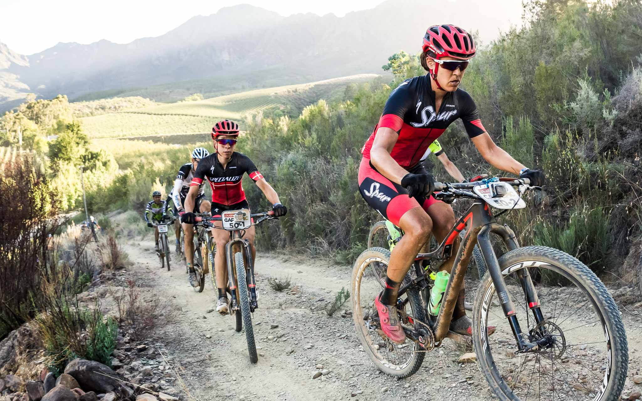 Annika Langvad and Ariane Kleinhans during stage 1 of the 2016 Absa Cape Epic Mountain Bike stage race held from Saronsberg Wine Estate in Tulbagh, South Africa on the 14th March 2016 Photo by Dominic Barnardt/Cape Epic/SPORTZPICS PLEASE ENSURE THE APPROPRIATE CREDIT IS GIVEN TO THE PHOTOGRAPHER AND SPORTZPICS ALONG WITH THE ABSA CAPE EPIC ace2016