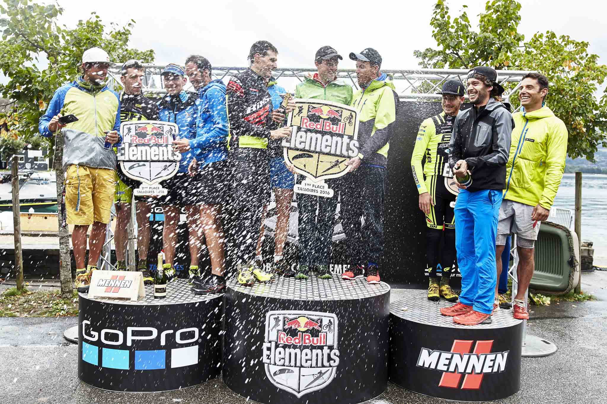 Winners celebrate at the Red Bull Elements in Talloires, France on September 17th, 2016. // Tim Lloyd / Red Bull Content Pool // P-20160917-01670 // Usage for editorial use only // Please go to www.redbullcontentpool.com for further information. //